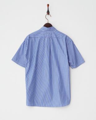 ブルー ストライプワイドカラー 半袖シャツ見る