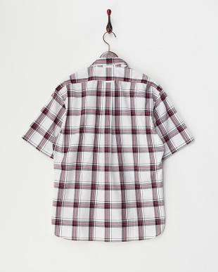 ピンク  デカチェック 半袖コットンシャツ見る