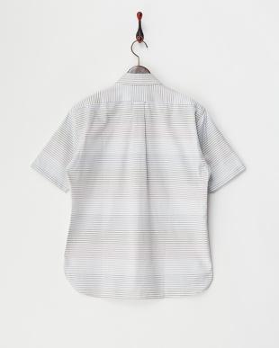 パープル  マルチボーダー 半袖BDシャツ見る
