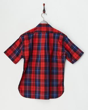 ネイビー  レッドチェック半袖シャツ見る