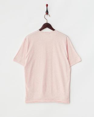 ピンク  半袖杢VネックTシャツ見る