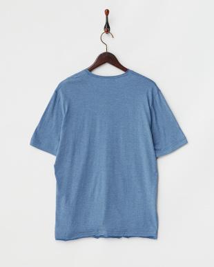 ブルー  半袖杢VネックTシャツ見る