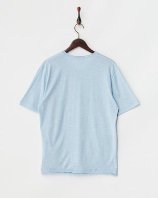 サックス  半袖杢VネックTシャツ見る