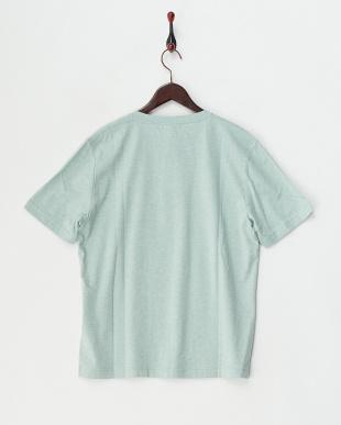 グリーン  半袖杢ヘンリーネックTシャツ見る