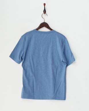 ブルー  半袖杢ヘンリーネックTシャツ見る