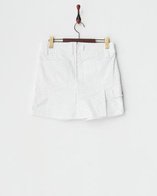 ホワイト  ドット柄 保温ストレッチキュロットスカート見る