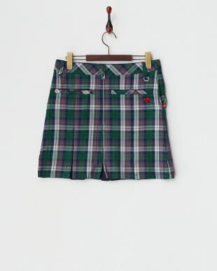 グリーン  チェック柄ストレッチボックスプリーツスカート見る