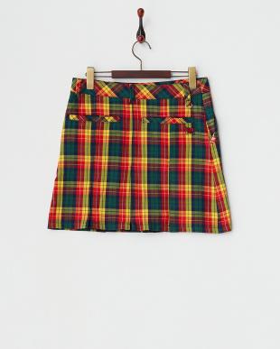 レッド  チェック柄ストレッチボックスプリーツスカート見る