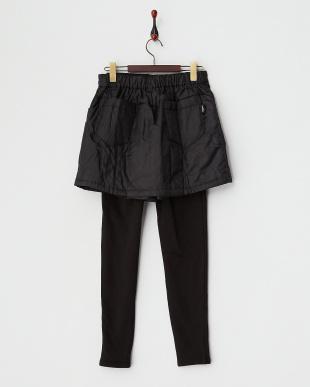 ブラック  撥水加工発熱中綿キュロットスカート+裏シャギーレギンス見る