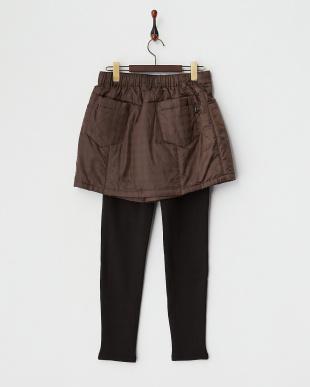 ブラウン  撥水加工発熱中綿キュロットスカート+裏シャギーレギンス見る