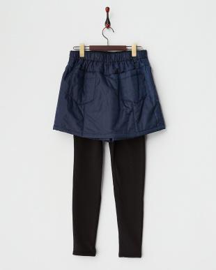 ネイビー  撥水加工発熱中綿キュロットスカート+裏シャギーレギンス見る