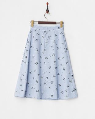 アイスブルー  花柄タックミディスカート見る
