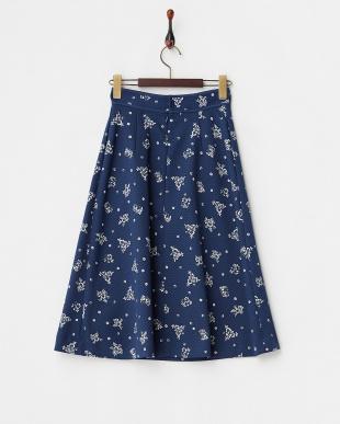 ネイビー  花柄タックミディスカート見る