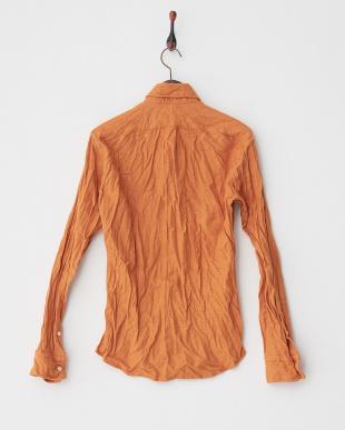 オレンジ  シワ加工コットンBDシャツ見る