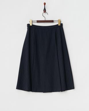 ネイビーストライプ  ボックスプリーツスカート見る