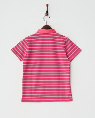 ピンク×グレー  ボーダーポロシャツ見る
