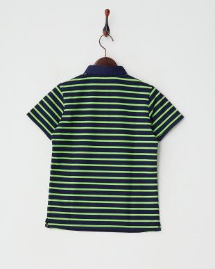 ネイビー×ライトグリーン  ボーダーポロシャツ見る