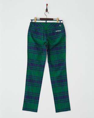 グリーン×ネイビー  チェック柄パンツ見る