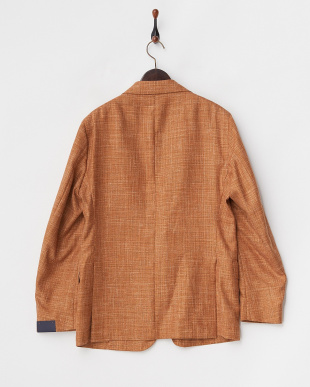 オレンジ  シルクリネン混ウール テーラードジャケット見る