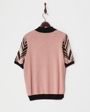 ブラック×ピンク ポロ衿シェブロン調ニット見る