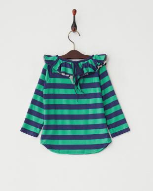 ブルー  ボーダーラッフルカラー9分袖TEE|GIRL見る