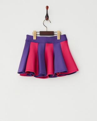 パープル  バイカラーフレアスカート|GIRL見る