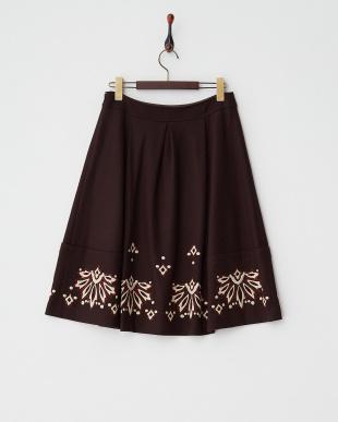 ダークブラウン  刺繍ウールスカート見る