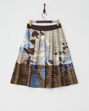 ダークブラウン  グレンチェックリーフ柄プリントスカート見る