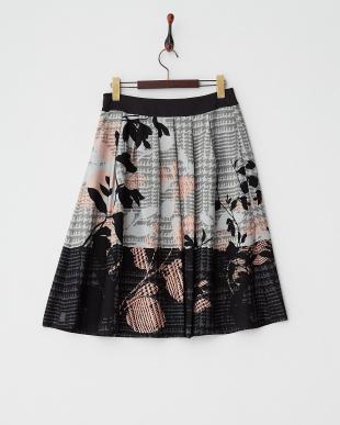 ダークグレー  グレンチェックリーフ柄プリントスカート見る
