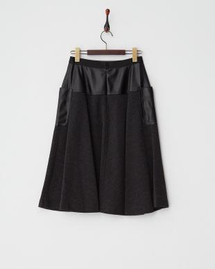 ダークグレー  フェイクレザーコンビスカート見る