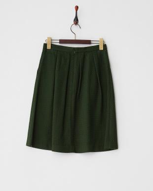グリーン  ジャガードタックフレアスカート見る