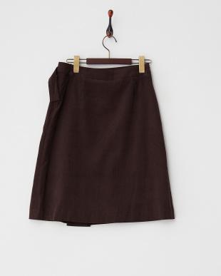 ブラウン  コーデュロイラップデザインスカート見る