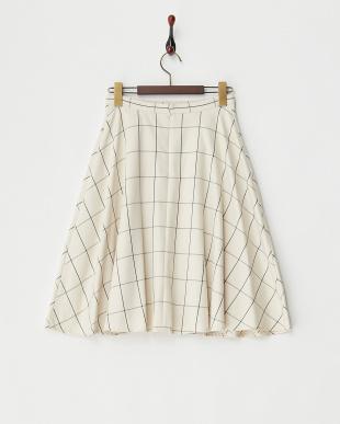 アイボリー  ウィンドーペンチェックフレアスカート見る