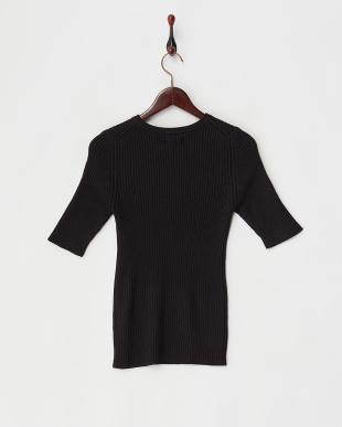 ブラック  5分袖リブ編みクルーネックニット見る