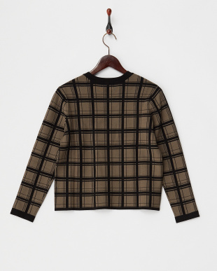 brown ジャガードクルーネックセーター見る