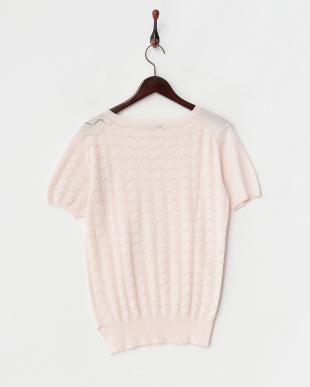 pink  コットンベーシック半袖ニット見る