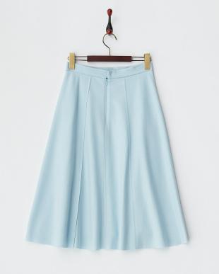 サックス  ウールミディアムスカート見る