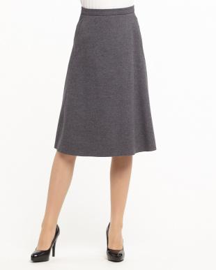 グレー  ウールミディアムスカート見る