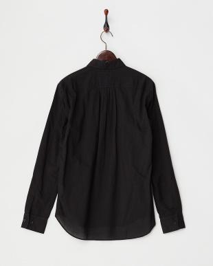 BLACK  コットンウール製品染めプリーツタックシャツ見る