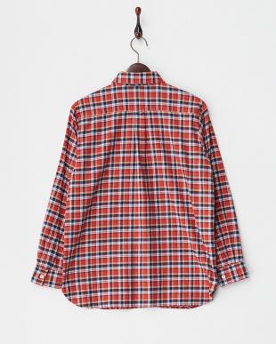 レッド  チェック柄ネルシャツ見る
