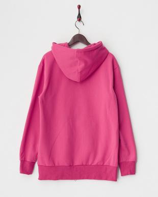 ピンク  裏起毛 トールジップスウェットパーカ|UNISEX見る
