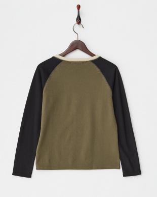 カーキ×ブラック 配色ラグランTシャツ見る