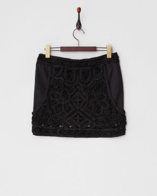 ブラック レイヤード風ビーズ刺繍スカート見る