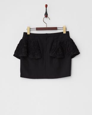 ブラック  リボン&ビーズ装飾フリル付きスカート見る