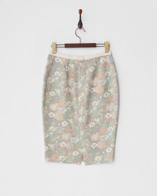 グリーン ボタニカル柄ゴブラン織り風スカート見る