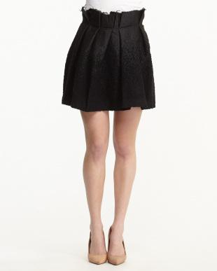 ブラック ウール混リボンベルト付きスカート見る