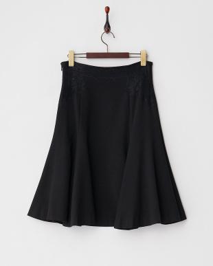 ブラック  レース装飾フレアスカート見る