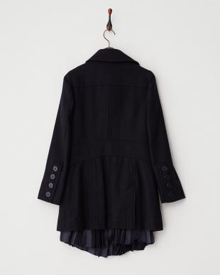 Navy  裾部分プリーツP-Coat見る
