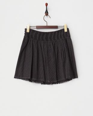 ブラック  チェック柄フリンジスカート見る