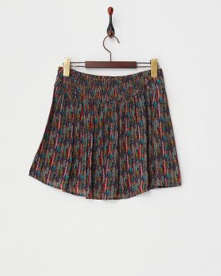ネイビー プリントスカート見る